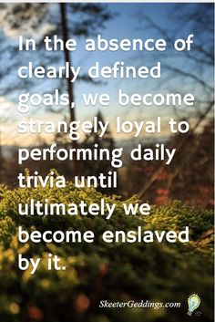 In the absence of clearly defined goals, we become strangely loyal to performing daily trivia until ultimately we become enslaved by it.