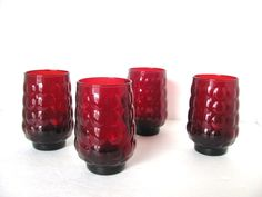 Vintage Red Bubble Glass Anchor Hocking by RSRenewVintage on Etsy, $40.00