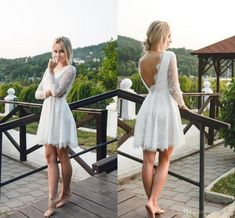 Summer Short ALine Wedding Dresses Lace V Neck Long Sleeves Backless Bridal Gowns Cheap Custom Made Wedding Dresses is part of Bridal gown cheaper A perfectfitting dress starts with perfect m - Short Wedding Gowns, Wedding Gowns With Sleeves, Backless Wedding, Wedding Dresses Plus Size, Long Sleeve Wedding, Plus Size Wedding, Bridal Dresses, Wedding Dresses Simple Short, Trendy Wedding