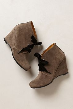Velvet Laced Booties - Anthropologie.com I have booties just like this, it would be so cute to put ribbons in as laces!