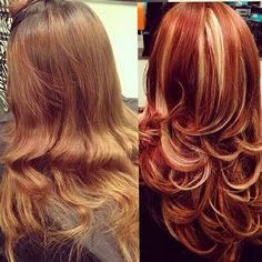 Before & After . Red & Blonde Hair