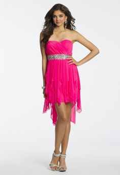 Short Strapless Hanky Hem Party Dress from Camille La Vie and Group USA #homecomingdresses #homecoming