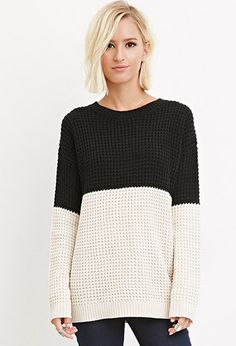Colorblocked Waffle Knit Sweater | Forever 21 | #thelatest