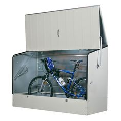 The Bike Box is the ultimate secure bike storage solution. Store up to 3 adult bikes, inside or outside, in this high-strength galvanised steel cabinet. Bicycle Storage Shed, Outdoor Bike Storage, Bike Shed, Shed Storage, Locker Storage, Bicycle Store, Buy Bike, Beton Garage, Diy Garage