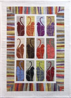 """""""Rainy Day Cats"""", 35 x 49"""", by Lonni Rossi.  We love this quilt."""