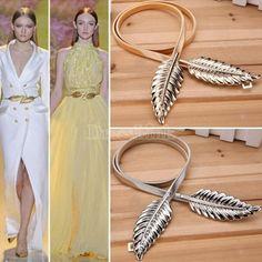 Новый стиль повелительницы Женщины Модные пояса листьев сплава Пояс Пояс лямках