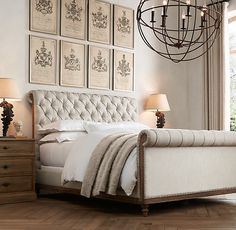RH's Deconstructed Chesterfield Sleigh Bed With Footboard:Inspired by the unadorned beauty of their grandfather's…