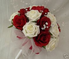 red flower bouquets for weddings | WEDDING FLOWERS - BRIDES POSY BOUQUET IN RED AND IVORY ROSES WITH ...