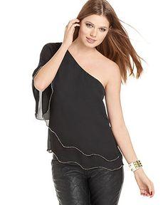 Cute black one shoulder blouse