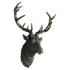 Add the finishing touch to your rustic lodge scheme with this striking stag head accent. Mount on wood paneling and arrange alongside heavy knit throws, bare...