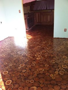 The wood was given a thin coat of polyurethane before the grout was applied.