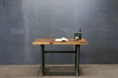 Industrial Factory Slab Wood Steel Desk : Factory 20