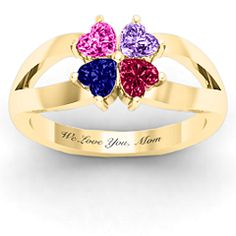 Four Clover Hearts Ring. Names of each child engraved. Birthstone of each child inserted. #jewlr #mothersday
