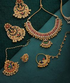 Buy Jeweled Allure Vbhushan Traditional kundan-inspired gold tone jewelry with pearls and beads Online at Jaypore.com