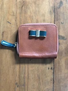 62ed43e28567 Massimo Dutti Camel Beige Leather with Bow Zipper Wristlet Wallet
