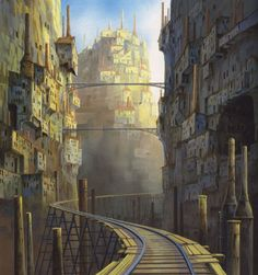 Enjoy a collection of 100 Concept Art from Studio Ghibli Castle In The Sky, featuring Character, Layout, Prop & Background Design. Hayao Miyazaki, Animation Background, Art Background, Background Designs, Art Studio Ghibli, Animes On, Fantasy City, Fantasy Castle, Castle In The Sky