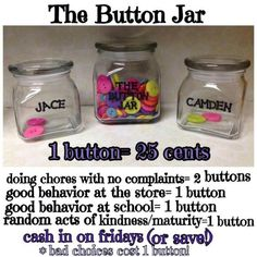 Button rewards for kids. Great way to encourage chores and good behavior. Added…