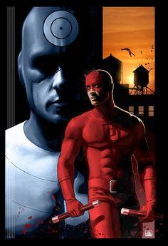 #Marvel:Daredevil  Daredevil(Matt Murdock) <3 & Bullseye  Daredevil & Bullseye by Charles Oak