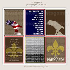 "Eagle Boy Scout 3""x4"" Printable Journal Cards Digital Collage Sheet for Scrapbooking Project Life My Life 365 & Gift Tags"