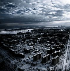 ghost town of Pripyat, Ukraine (basically ground zero for the Chernobyl nuclear disaster)