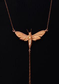 Real electrocoppered moth, pendant, necklace; Echter Falter verkupfert, Halskette von GALVANITY auf Etsy