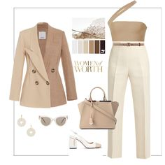 Fashion set Nude look created via Suit Fashion, Look Fashion, Korean Fashion, Girl Fashion, Fashion Outfits, Classy Outfits, Stylish Outfits, Cute Outfits, Theatre Outfit