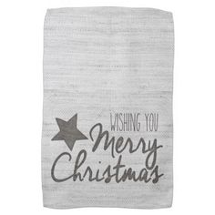 Grey Burlap Christmas Wishes Towel