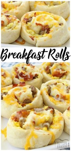 Breakfast Rolls filled with scrambled eggs, bacon, sausage & cheese then rolled . - Breakfast Rolls filled with scrambled eggs, bacon, sausage & cheese then rolled in homemade dough a - Breakfast And Brunch, Breakfast Dishes, Homemade Breakfast, Breakfast Recipes With Eggs, Breakfast Muffins, Breakfast Ideas With Eggs, Breakfast Dessert, Brunch Recipes With Bacon, School Breakfast