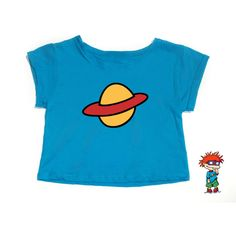 CLEARANCE**Chuckie Rugrats Crop Top (17 CAD) ❤ liked on Polyvore featuring tops, t-shirts, crop top, blue top, loose fit crop top, loose tops and loose fitting crop top