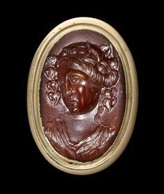 A Roman carnelian intaglio of Dionysus. Late Hellenistic - Early Roman, circa 1st Century B.C/A.D.
