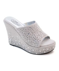 Look what I found on #zulily! Nude Scatter Rhinestone Wedge Sandal #zulilyfinds