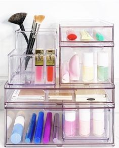 Fashion Look Featuring Container Store Kitchen Storage by thehomeedit - ShopStyle Stackable Plastic Storage Bins, Storage Boxes With Lids, Storage Containers, Storage Baskets, Storage Organization, Kitchen Storage, The Home Edit, Putting On Makeup, Container Store