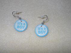 It's a Boy charm earrings/pierced/fishhook by CreationsbyMaryEllen, $3.99