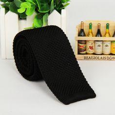"Free shipping Men 2"" Vintage Knitted Knit Slim Wedding Flat Tie Necktie Black $5.99"