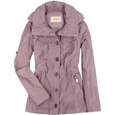 Burberry Short trench coat ($278) ❤ liked on Polyvore featuring outerwear, coats, jackets, casacos, tops, trench coat, burberry, purple trench coat, short trench coat and purple coat