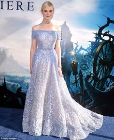 What a princess! Elle pictured at the Maleficent premiere in Hollywood on Wednesday...