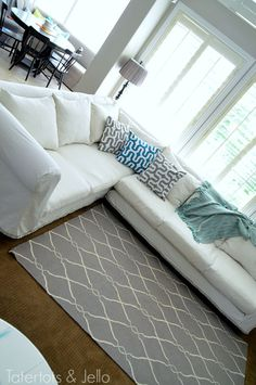 Make a Dropcloth Sofa Sectional Slipcover! - Tatertots and Jello Diy Sofa Cover, Couch Covers, White Couch Cover, Cushion Covers, Drop Cloth Slipcover, Couch Slipcover, Reupholster Couch, Sectional Couch Cover, Sectional Sofas