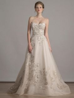 Liancarlo rose embroidered tulle sweetheart strapless A-line wedding dress from Spring 2016