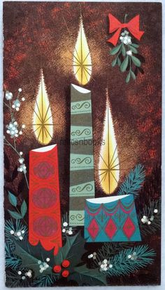 #196 60s AMERICAN ARTISTS, Mid Century Candles, Vintage Christmas Card-Greeting