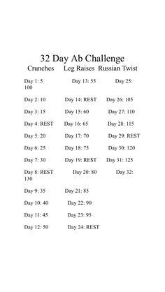 32 day ab challenge. Crunches, leg raises, and Russian twist