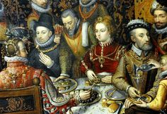 Alonso Sanchez Coello. Detail. King Phillip II of Spain banqueting with his family and courtiers. (The Royal Feast). 1596. National Museum in Warsaw.Accession number: M.Ob.295 (73635)