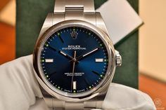 Rolex Oyster Perpetual, steel, blue dial