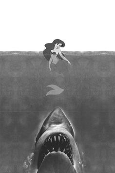 Find images and videos about black and white, disney and mermaid on We Heart It - the app to get lost in what you love. Art Disney, Disney Kunst, Disney Love, Disney Pixar, Dark Disney Art, Disney Horror, Alternative Disney, Twisted Disney, Disney Memes