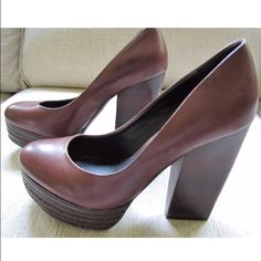 Trouvé Brown Leather Pumps Fashionable Brown Leather Trouve Stiletto Pumps. Size 6M. In wonderful pre-owned condition.  Retail price $200. Trouve Shoes Heels