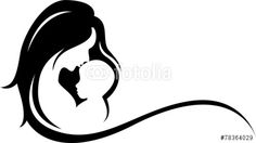 Vector: mother and baby silhouette