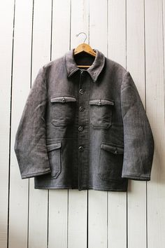 8809e7fe1f394 Reserved for K.C/Vintage french hunting jacket/1960's/cotton pique/dark  gray/animal button/size M-L