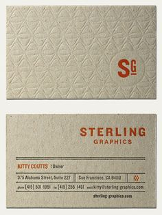"Sterling Graphics Business Card designed by ""Cranky Pressmamn,"" found on flickr and also http://www.designworklife.com/2009/08/18/business-card-rround-up/"