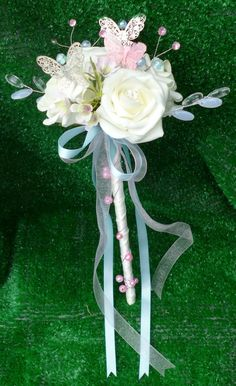 https://flic.kr/p/ocy4EU | *charlotte bmw* rose and butterfly flowergirl wand. colour theme of baby pink,baby blue ivory and silver.