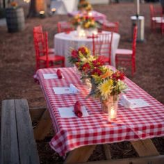 Create combo with a red-and-white gingham tablecloth for a Fourth of July party in the country.