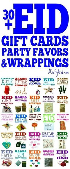 Eid Gift Cards, Favors, & Wrapping Ideas {Resource} by A Crafty Arab Eid Party, Candy Party, Party Favors, Eid Gift, Ramadan Gifts, Wrapping Ideas, Gift Wrapping, Painted Bags, Birthday Cup